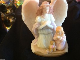 Sweet angel figure with girl and teddy bear - $34.64