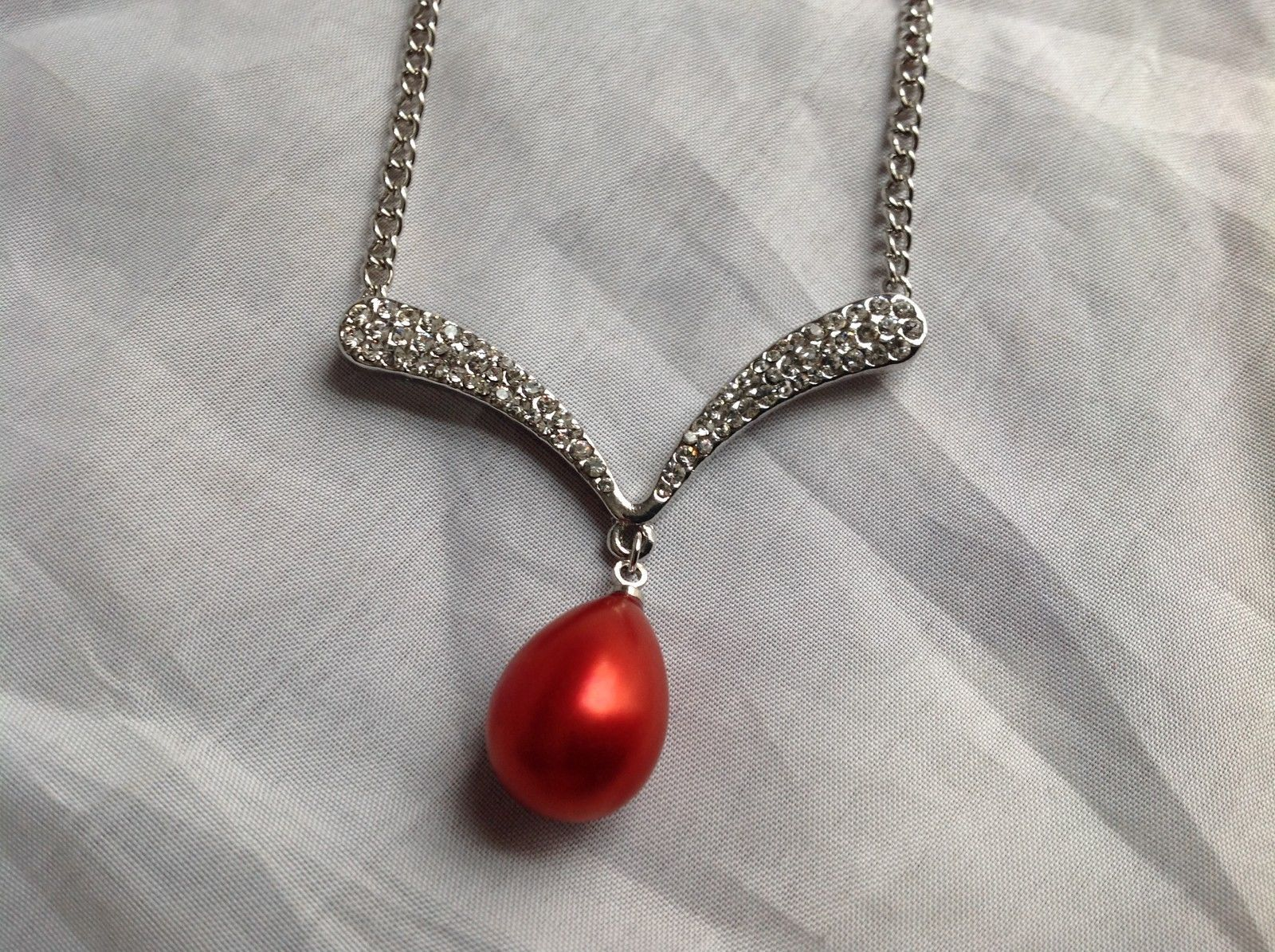 Swarovski Silver tone white stone red bubble pendent necklace