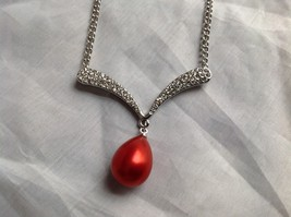 Swarovski Silver tone white stone red bubble pendent necklace