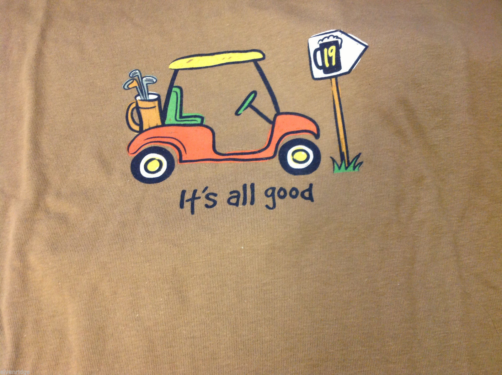 T Shirt Its All Good Golf and Beer Humor Light Brown Tee Mens XL Extra Large