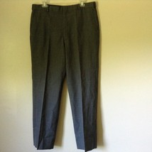 Tailored Gray Pleated Front Dress Pants 100 Percent Wool Measurements Below image 1