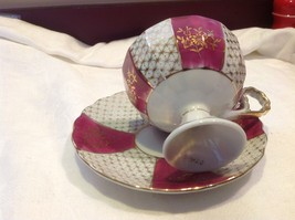 Antique cup saucer magenta pedestal w florals stars gold trim National Potteries image 6