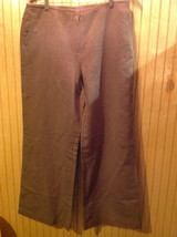 Talbots Brown Casual Pants Wide Leg 2 Front and 2 Back Pockets Size 14