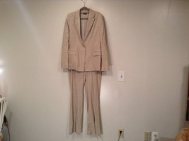 TAHARI 2 Piece Pants and Jacket Suit Size 12 Tan Cream Jacket Fully Lined