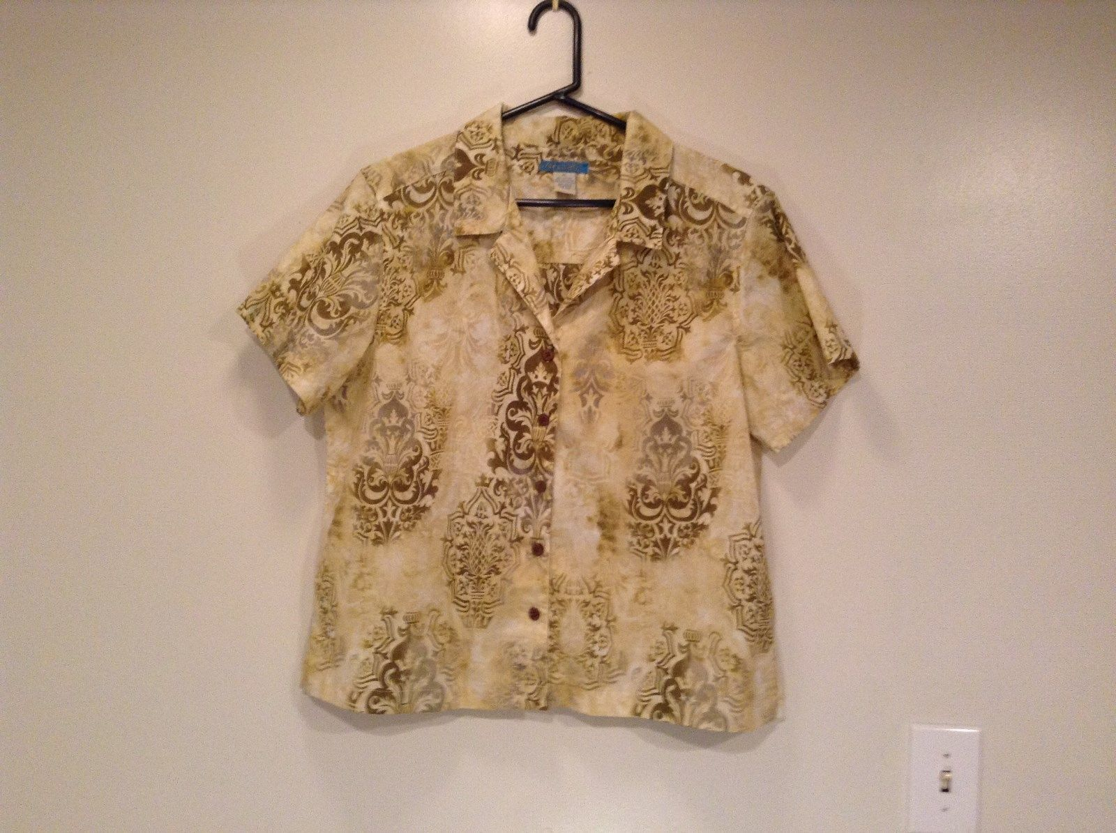 Tahiti Jake Short Sleeve Yellow Sand Colored with Floral Pattern Shirt Size XL