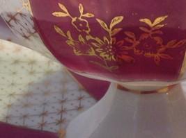 Antique cup saucer magenta pedestal w florals stars gold trim National Potteries image 7