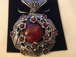 Red Crystals with Big Dark Red Stone Silver Tone Circular Shaped Scarf Pendant image 2