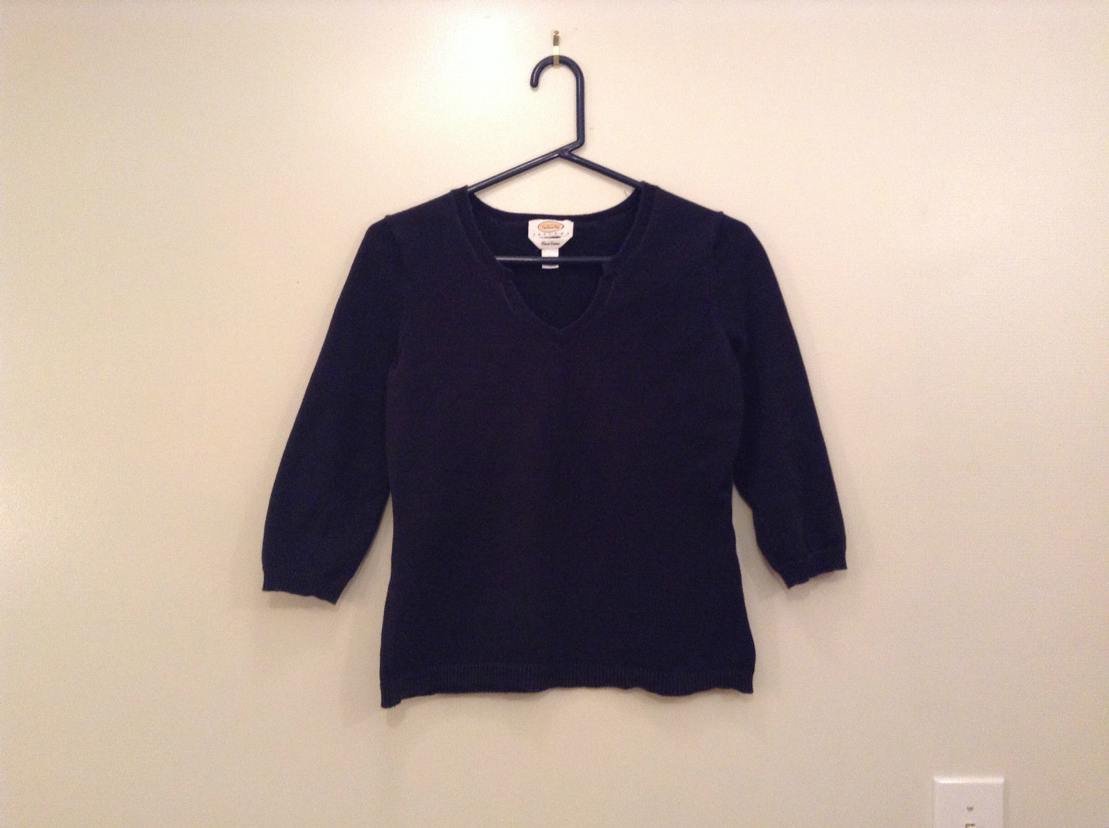 Talbots Petites Black V Neck Sweater Size Small Three Quarter Length Sleeves