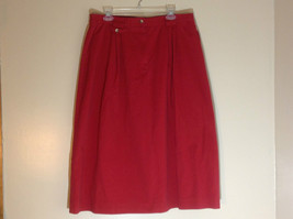 Talbots Red mid calf pleated skirt front pocker zipper button closure size 18