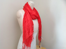 Red Scrunched Style Tasseled Scarf LOOK 65 by  24 Inches Width silk cotton blend image 3