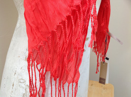 Red Scrunched Style Tasseled Scarf LOOK 65 by  24 Inches Width silk cotton blend image 4