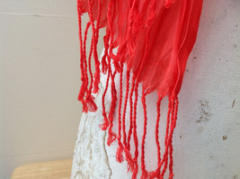 Red Scrunched Style Tasseled Scarf LOOK 65 by  24 Inches Width silk cotton blend image 5