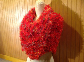 Red Rainbow Color Specks Fuzzy Circle Scarf Can Be Worn Multiple Ways NO TAGS image 7