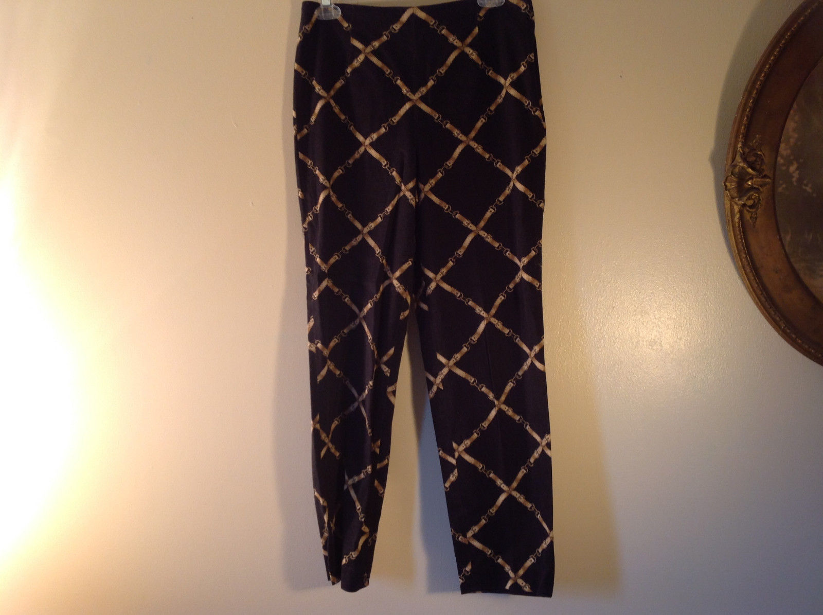 Talbots Size 8 Black with Belt Pattern Casual Pants Zipper Closure on Side
