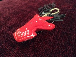 Red Reindeer Shaped Felt Ornament Black Metal Wires Antlers image 3