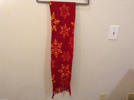 Red and Yellow Snowflakes Winter Fleece Scarf with fringed edges 100% polyester image 3