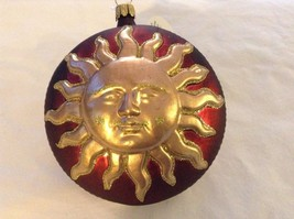 Red and gold glitter Shining Sun  Glass Ornament Old German Christmas image 2