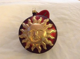 Red and gold glitter Shining Sun  Glass Ornament Old German Christmas image 7