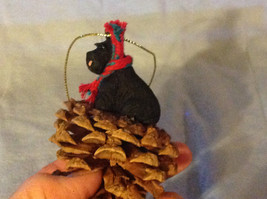 Red Pine Cone Scotty Dog or Black Schnauzer Real Fabric for Scarf on Neck image 5