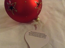 Red round Glass Ornament Old German Christmas w stars glitter gloss and matte image 7