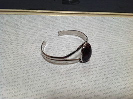 Red and Black bloodstone  Oval Shaped Stone Silver Tone Geo Jewelry Bracelet image 2