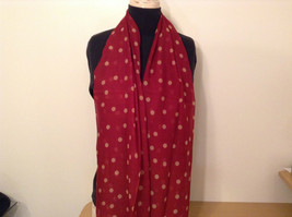 Red with Tan Dots Scarf 100 Percent Polyester NEW image 2