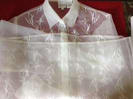 Reflections by Spiegel White See Through Fancy Blouse Long Sleeve Collar Size 10 image 10