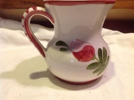 Relpo mid 1900s vintage majolica style floral ceramic pitcher image 4