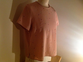 Rena Rowan Flower Pattern Mauve Short Sleeve Shirt Flowers are Small Size 10 image 2