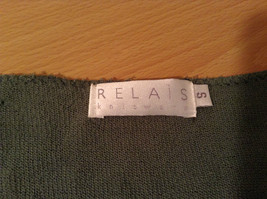 Relais Knitted Soft Green Long Sleeve Sweater Ribbon Tie Closure Size Small image 7