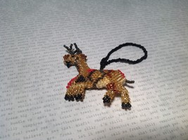Reindeer Handmade Beaded  Ornament Decoration Gold Tone Metallic Beads image 2