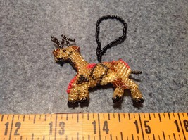 Reindeer Handmade Beaded  Ornament Decoration Gold Tone Metallic Beads image 6