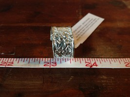 Relief Pattern with Large Violet CZ Handcrafted 925 Sterling Silver Ring Size 7 image 6
