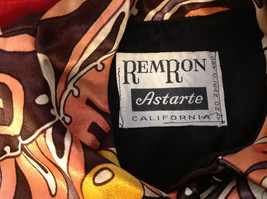 Remron Astarte Brand Womens Blazer Vivid Pattern Brown Yellow Peach California image 2