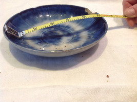 Antique flow blue ceramic saucer early American Arabesque pattern image 2