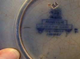 Antique flow blue ceramic saucer early American Arabesque pattern image 4