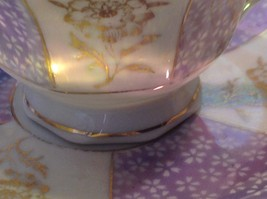 Antique teacup saucer periwinkle florals pedestal gold trim National Potteries image 2