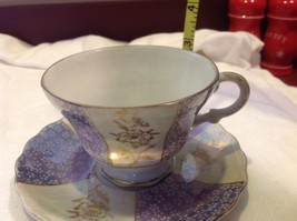Antique teacup saucer periwinkle florals pedestal gold trim National Potteries image 3