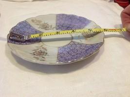 Antique teacup saucer periwinkle florals pedestal gold trim National Potteries image 4