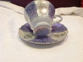 Antique teacup saucer periwinkle florals pedestal gold trim National Potteries image 8