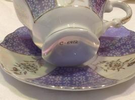 Antique teacup saucer periwinkle florals pedestal gold trim National Potteries image 9