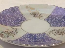 Antique teacup saucer periwinkle florals pedestal gold trim National Potteries image 7