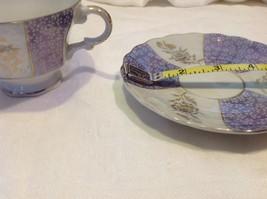 Antique teacup saucer periwinkle florals pedestal gold trim National Potteries image 5