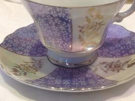 Antique teacup saucer periwinkle florals pedestal gold trim National Potteries image 10