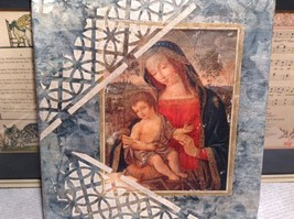 Antiqued Look Icon Mary Jesus  Russian Handmade Mixed Media Collage Canvas, 8X10 image 3