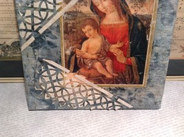 Antiqued Look Icon Mary Jesus  Russian Handmade Mixed Media Collage Canvas, 8X10 image 4