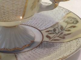 Antique teacup saucer canary floral stars pedestal gold trim National Potteries image 2