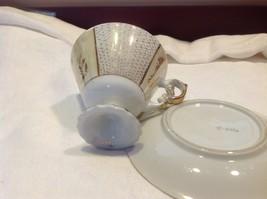 Antique teacup saucer canary floral stars pedestal gold trim National Potteries image 5