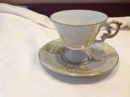 Antique teacup saucer canary floral stars pedestal gold trim National Potteries image 7