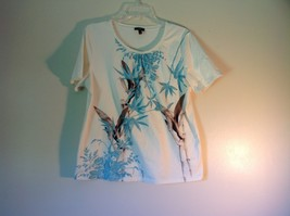 Talbots White Short Sleeve Shirt with Light Blue Flower Designs Size XL